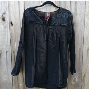 Johhny was black silk embroidery boho…